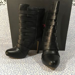 Just Fab Romandy Black Strappy Ankle Boots